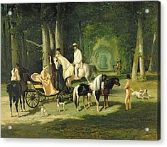 Mr And Mrs A Mosselman And Their Two Daughters Acrylic Print by Alfred Dedreux
