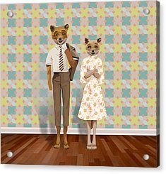 Mr. And Mrs. Fox Acrylic Print by Rachel Mindes