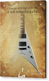 Dr House Inspirational Quote And Electric Guitar Brown Vintage Poster For Musicians And Trekkers Acrylic Print by Pablo Franchi
