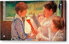 Mrs Cassatt Reading To Her Grandchildren Acrylic Print by Mary Stevenson Cassatt