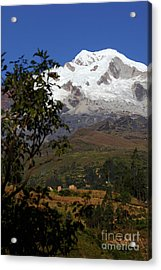 Mt Illampu And Farmland Near Sorata Bolivia Acrylic Print by James Brunker