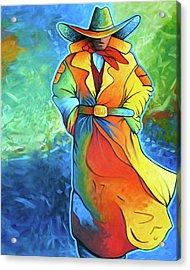 Multi Color Cowboy Acrylic Print by Lance Headlee