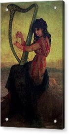 Muse Playing The Harp Acrylic Print by Antoine Auguste Ernest Hebert