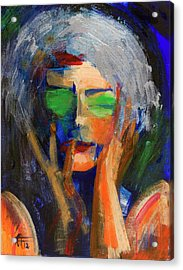 Muse Thinking Acrylic Print by Walter Fahmy