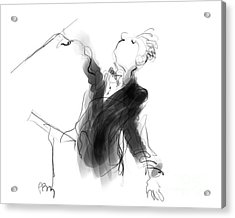 Music Conductor Sketch Acrylic Print by Paul Miller