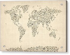 Music Notes Map Of The World Map Acrylic Print by Michael Tompsett