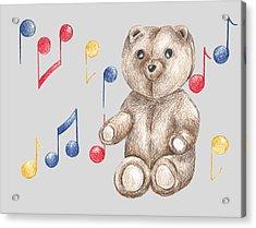 Musical Bear Acrylic Print by Rebecca Harrick