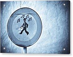 Musicman Walking Acrylic Print by Keith Sanders