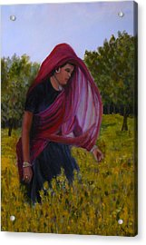 Mustard Fields Of India Acrylic Print by Betty Pimm