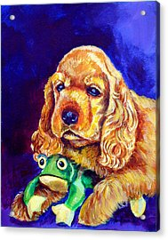 My Froggy - Cocker Spaniel Puppy Acrylic Print by Lyn Cook