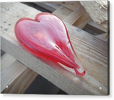 My Hearts On A Pile Of Wood Acrylic Print by WaLdEmAr BoRrErO