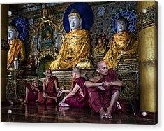 Myanmar Monks Gather Acrylic Print by David Longstreath