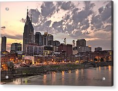 Nashville At Dusk Acrylic Print by Greg Davis