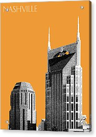 Nashville Skyline At And T Batman Building - Orange Acrylic Print by DB Artist