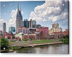 Nashville Skyline From The John Seigenthaler Pedestrian Bridge - Downtown Nashville Photograph Acrylic Print by Duane Miller