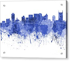 Nashville Skyline In Blue Watercolor On White Background Acrylic Print by Pablo Romero