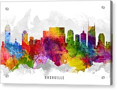 Nashville Tennessee Cityscape 13 Acrylic Print by Aged Pixel