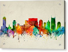 Nashville Tennessee Skyline 22 Acrylic Print by Aged Pixel