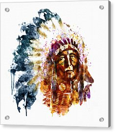 Native American Chief Acrylic Print by Marian Voicu