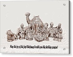 Nativity Scene In Sepia Acrylic Print by Linda Phelps