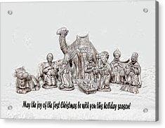 Nativity Scenne Sketch Acrylic Print by Linda Phelps