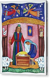 Nativity With Angels Acrylic Print by Cathy Baxter