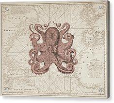 Nautical Octopus Sea Chart Acrylic Print by Erin Cadigan