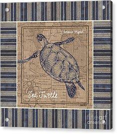 Nautical Stripes Sea Turtle Acrylic Print by Debbie DeWitt