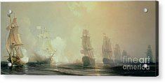 Naval Battle In Chesapeake Bay Acrylic Print by Jean Antoine Theodore Gudin