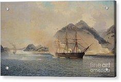 Naval Battle Of The Strait Of Shimonoseki Acrylic Print by Jean Baptiste Henri Durand Brager