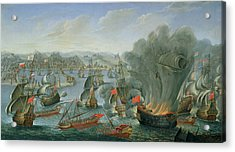 Naval Battle With The Spanish Fleet Acrylic Print by Pierre Puget