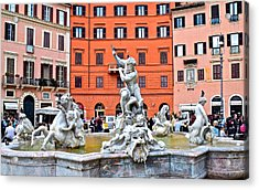 Navona Piazza Fountain Acrylic Print by Frozen in Time Fine Art Photography