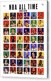 Nba All Times Acrylic Print by Semih Yurdabak