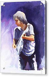 Neil Young With Gretsch White Falcon Acrylic Print by Ken Daugherty