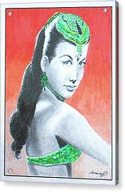 Nejla -- Retro Portrait Of Turkish Celebrity Acrylic Print by Jayne Somogy