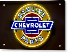 Neon Genuine Chevrolet Parts Sign Acrylic Print by Mike McGlothlen