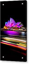 Neon Nights Panorama Acrylic Print by Az Jackson