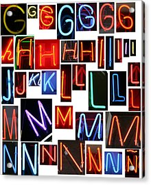 neon sign series G through N Acrylic Print by Michael Ledray