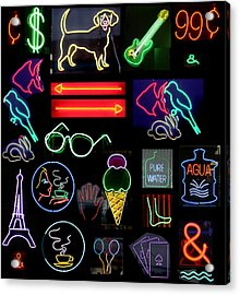 Neon Sign Series With Symbols Of Various Shapes And Colors Acrylic Print by Michael Ledray