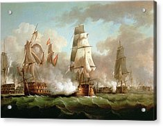 Neptune Engaged At The Battle Of Trafalgar Acrylic Print by J Francis Sartorius