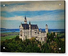Neuschwanstein Castle Bavaria Germany Vintage Postcard Image Acrylic Print by Design Turnpike