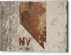 Nevada State Map Industrial Rusted Metal On Cement Wall With Founding Date Series 044 Acrylic Print by Design Turnpike