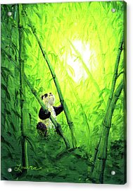 New Bamboo Leaves Acrylic Print by Laura Iverson