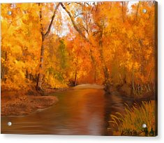 New England Autumn In The Woods Acrylic Print by Becky Herrera