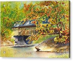 New England  Covered Bridge Acrylic Print by Karen Fleschler
