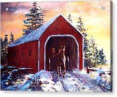 New England Winter Crossing Acrylic Print by Jack Skinner