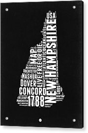 New Hampshire Word Cloud Black And White Map Acrylic Print by Naxart Studio