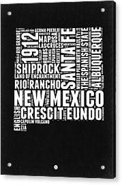 New Mexico Black And White Word Cloud Map Acrylic Print by Naxart Studio
