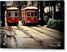 New Orleans Red Streetcars Acrylic Print by Perry Webster