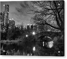 New York - Central Park 006 Bw Acrylic Print by Lance Vaughn